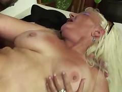 Blonde Granny in Fishnet Stockings Fucks