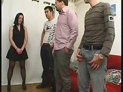 French milf Amelie in stockings gangbanged