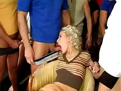 Blondie gangbang and bukkake