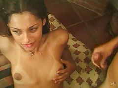 Green eyed beauty TS fed with cock