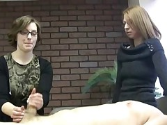 Nerd girl in jerk-test