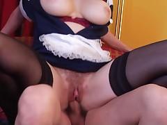 Superhot hairy maid milf getting fucked