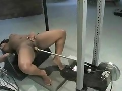 Black Chubby Whore Learns To Use Electric Fucking Machines..