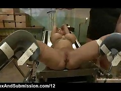 Bound Blonde Fucked In Gynecological Table