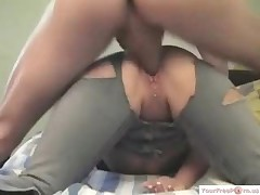 Clitpierced Girl Riding Cock Through A Hole In Her Jeans