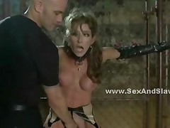 Sexy Slut In Leather Tied With Chains In Extreme Deepthroat..