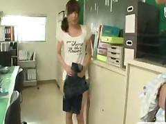 Japanese Teen Begins Work As A Nudist Office Cleaner