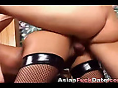 Asian whore with net stockings gets fucked on the chair