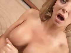 Blonde with nice tits jerks cock