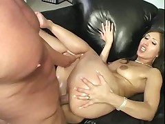 Gorgeous Latina with round ass gets oiled then drilled
