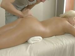 Perky blonde gets massaged then pumped hard