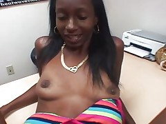 Skinny ebony amateur fucked by a white cock