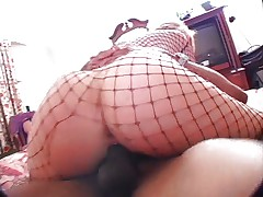 Blond fishnet lady Sophie fucked by black cock