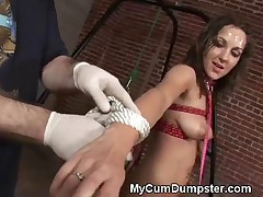 Brunette Tied Up And Gagged In A Humiliating BDSM Gangbang Experience Complete With Multiple Cum Dep