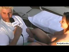Katja Kassin - Katja Giving Handjob While Having An Interview