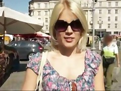 Blonde Cutie Is Picked Up At Market And Rides Dick In Public