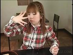 Asian Hottie Eats Food Covered In Jizz