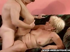 Horny Grandmother Riding Young Cock