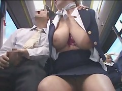 Busty stewardess public handjob in the bus snake