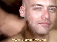 Bald hunk sucks dicks and drinks cum