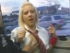Blonde in bus get fucked hard