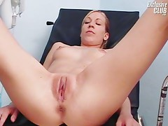 Gynecology speculum pussy exam on gynochair by kinky doctor