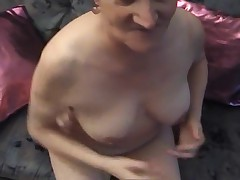 A Granny in Pantyhose a Cucumber and a Cock