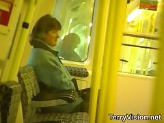 Public flashing on the train