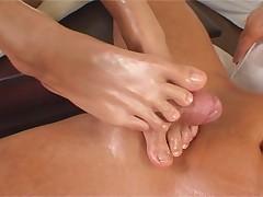 Cute brunette long footjob