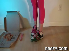 My big atural tits, my braces and my Pink pantyhose