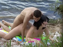 Young couple making sex on the beach